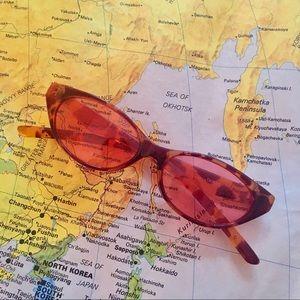 Vintage 90s cat eye rose colored skinny sunglasses